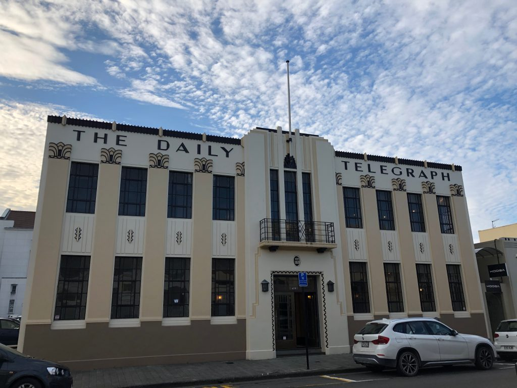The Art Deco Daily Telegraph building in Napier, New Zealand.