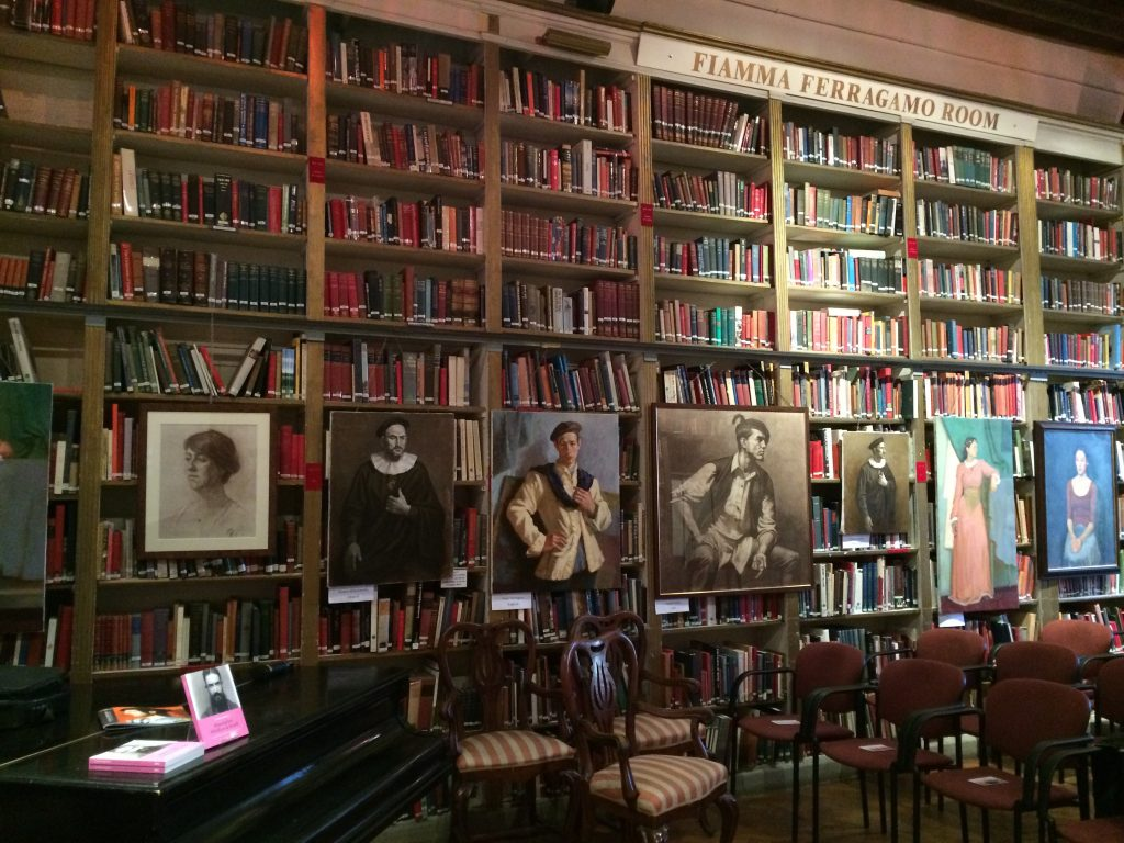 The British Institute in Florence, Italy, displaying copies of my book Moustaches, Whiskers & Beards - Facial Hair in Art.